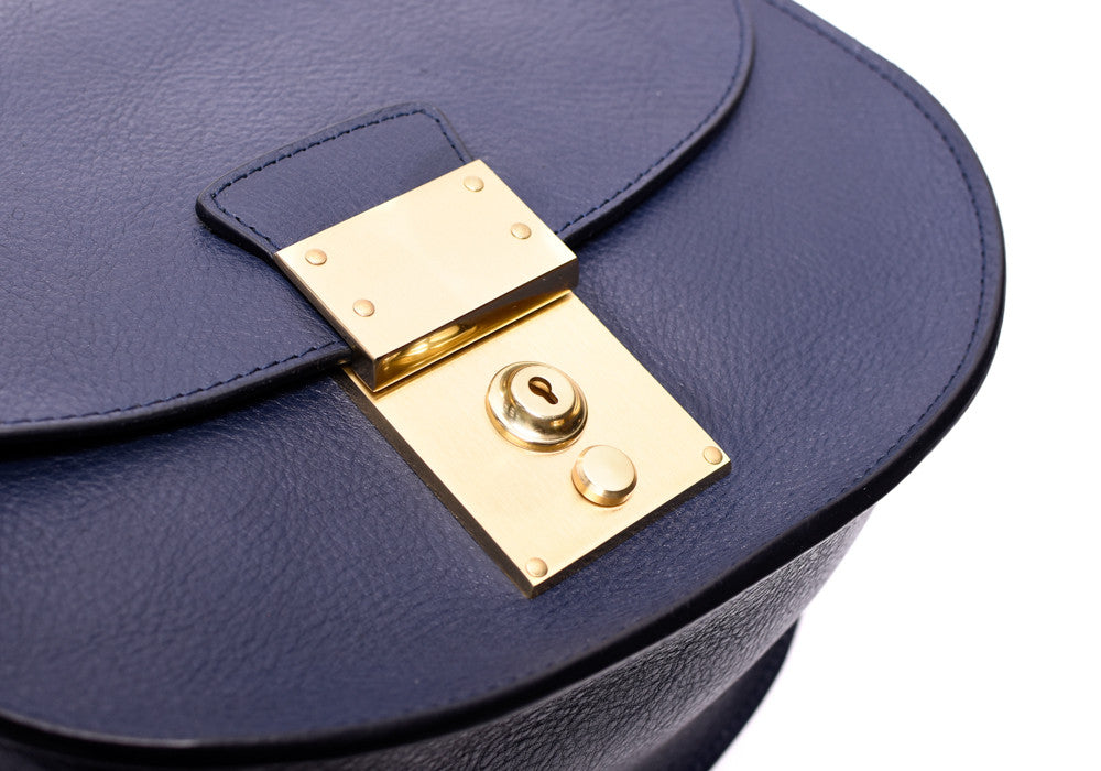 Lock View of Arc Shoulder Bag Indigo-Electric Blue