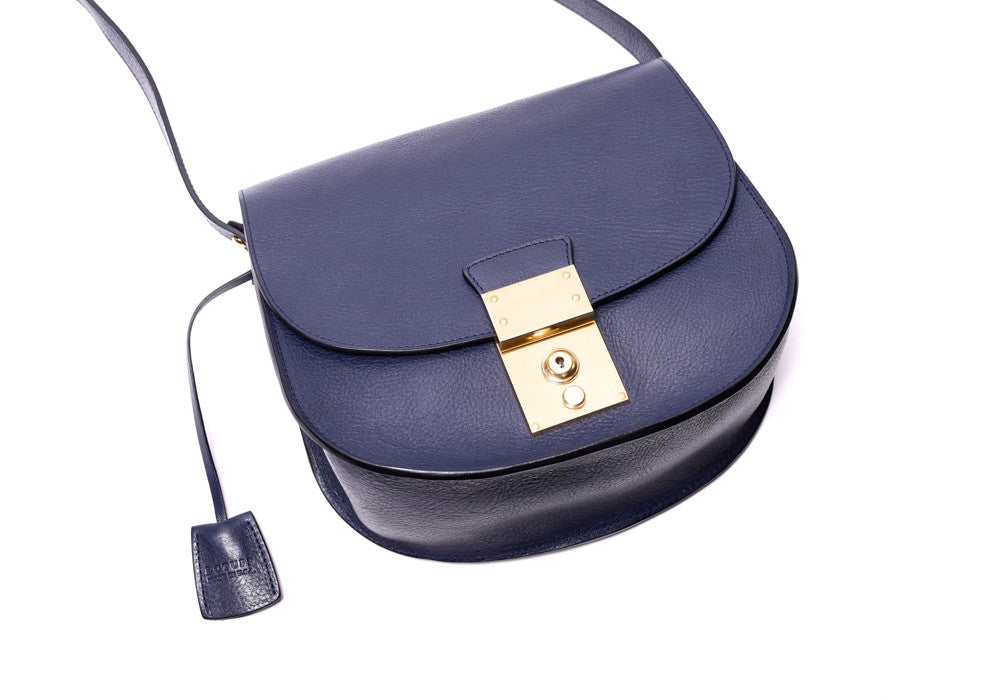 Front View of Arc Shoulder Bag Indigo-Electric Blue