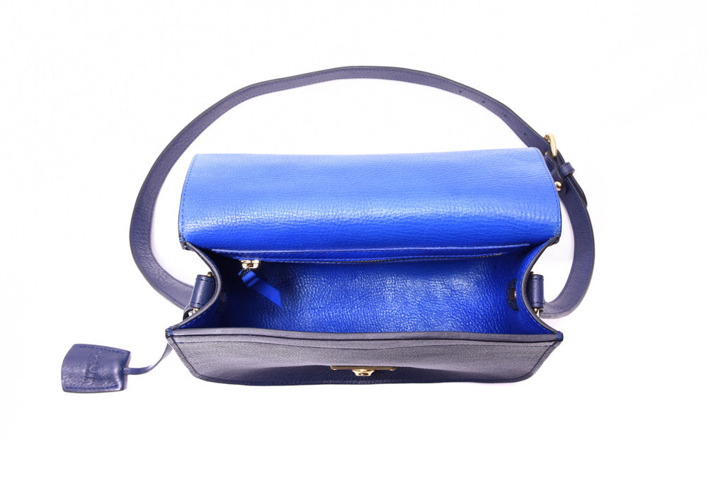 Top Open View of Arc Shoulder Bag Indigo-Electric Blue