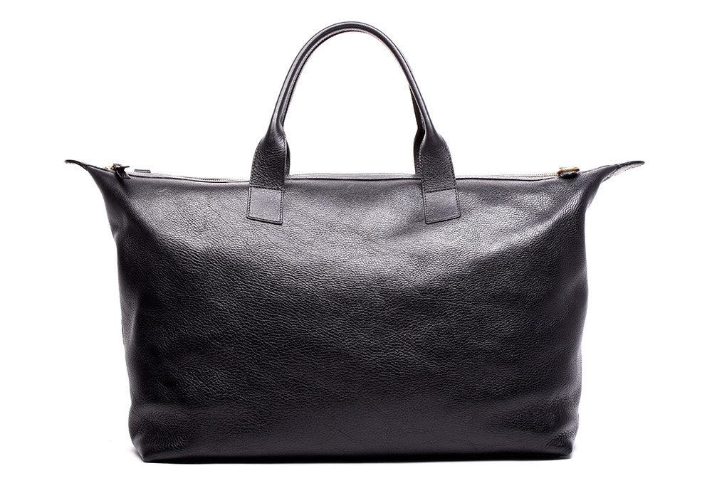 Leather Weekender Tote Black|Back Leather View