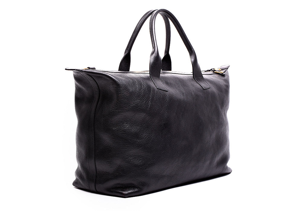 Side Angle View of Leather Weekender Tote Black
