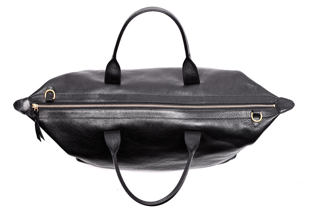 Top Leather Zipper of Leather Weekender Tote Black