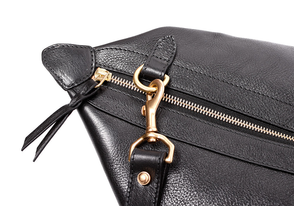 Close Up Top View of Leather Weekender Tote Black