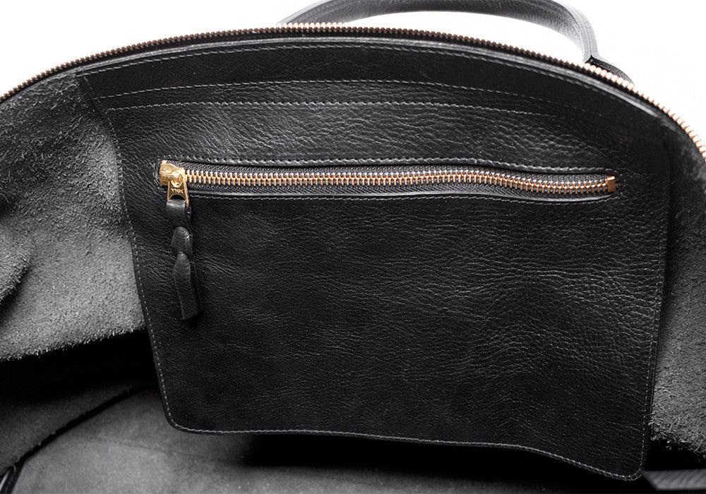 Inner Leather Pocket of Leather Weekender Tote Black