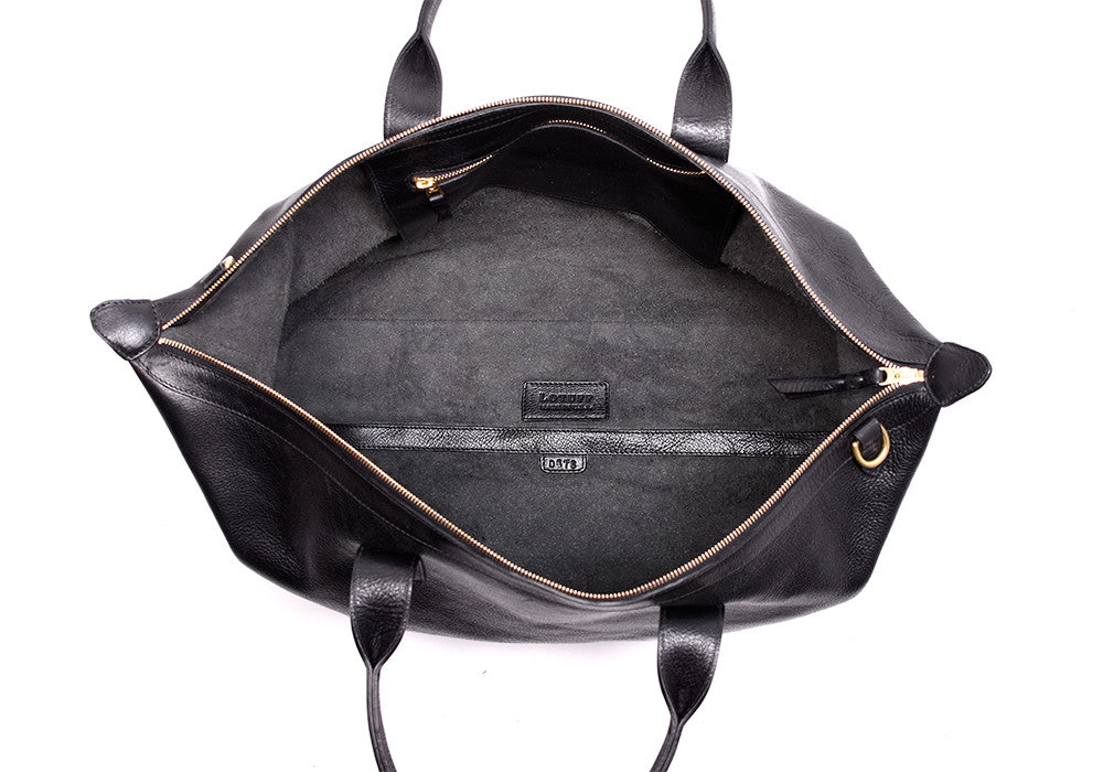 Top Open View of Leather Weekender Tote Black
