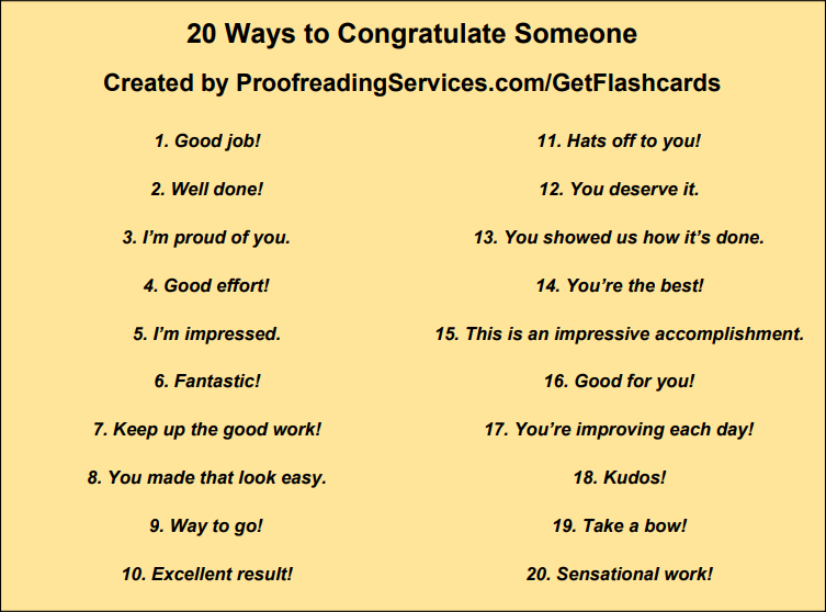 20 Ways to Congratulate Someone infographic