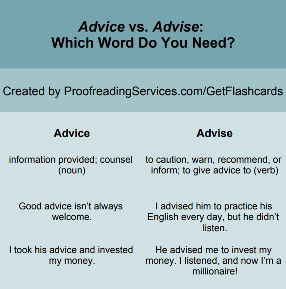 Advice vs. Advise: Which Word Do You Need? infographic