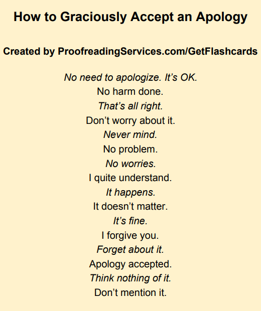 How to Graciously Accept an Apology infographic