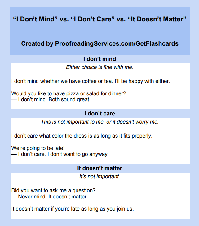 I Don't Mind vs. I Don't Care vs. It Doesn't Matter infographic