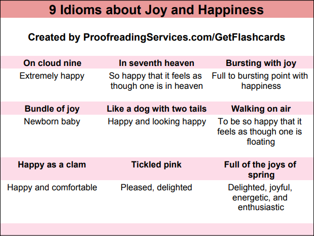 9 Idioms about Joy and Happiness infographic