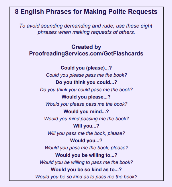 8 English Phrases for Making Polite Requests infographic