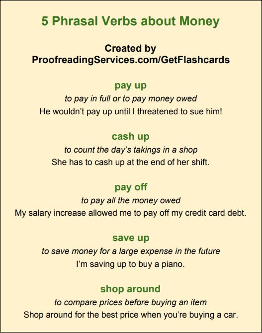 5 Phrasal Verbs about Money infographic