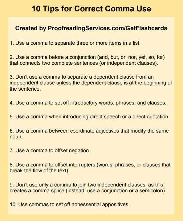 10 Tips for Correct Comma Use infographic