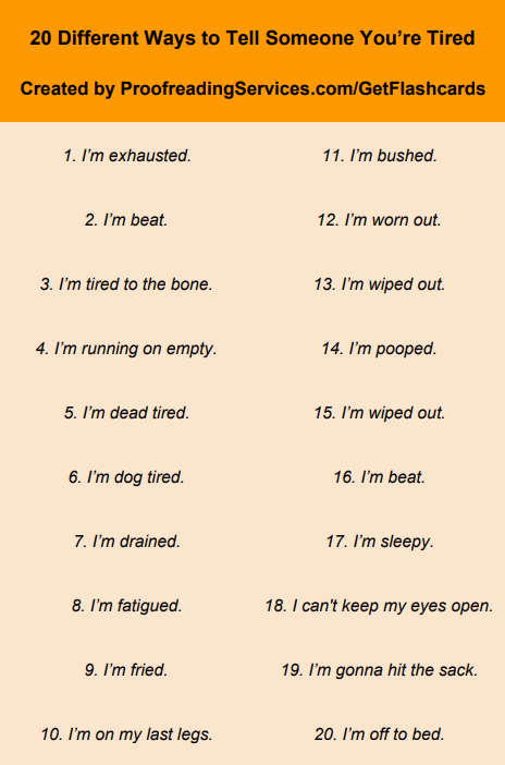 20 Different Ways to Tell Someone You're Tired infographic