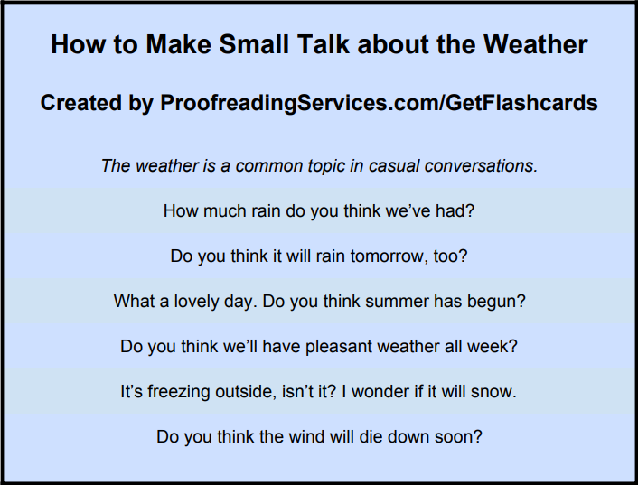 How to Make Small Talk about the Weather infographic