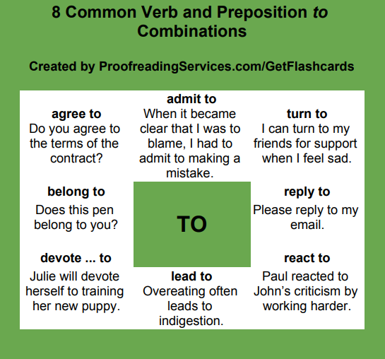 8 Common Verb and Preposition to Combinations infographic