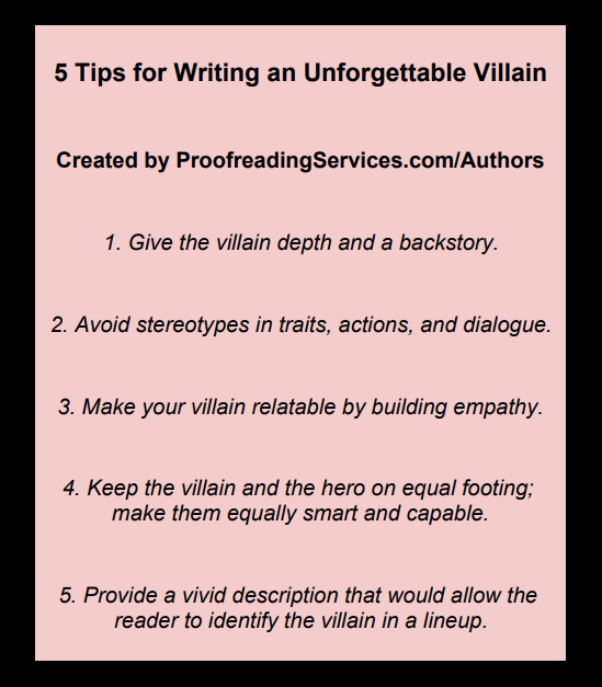 5 Tips for Writing an Unforgettable Villain infographic