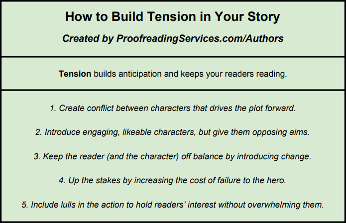 How to Build Tension in Your Story infographic