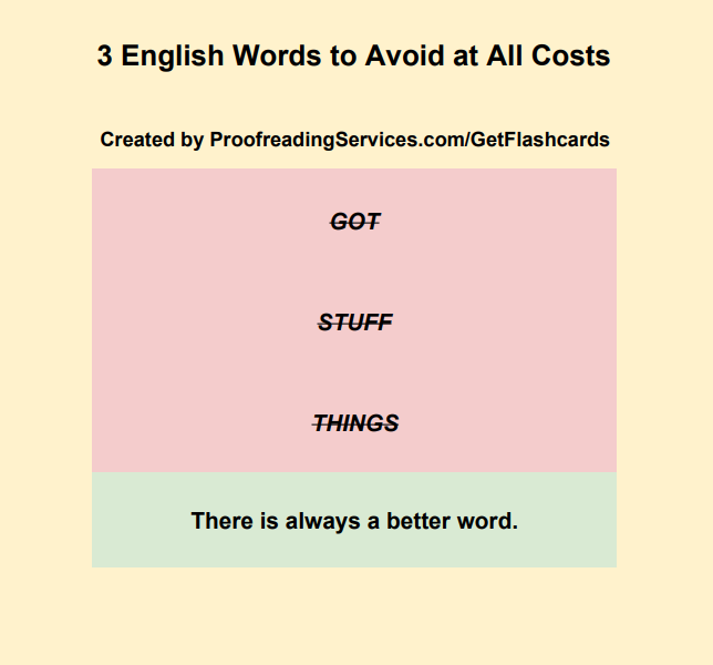 3 English Words to Avoid at All Costs infographic