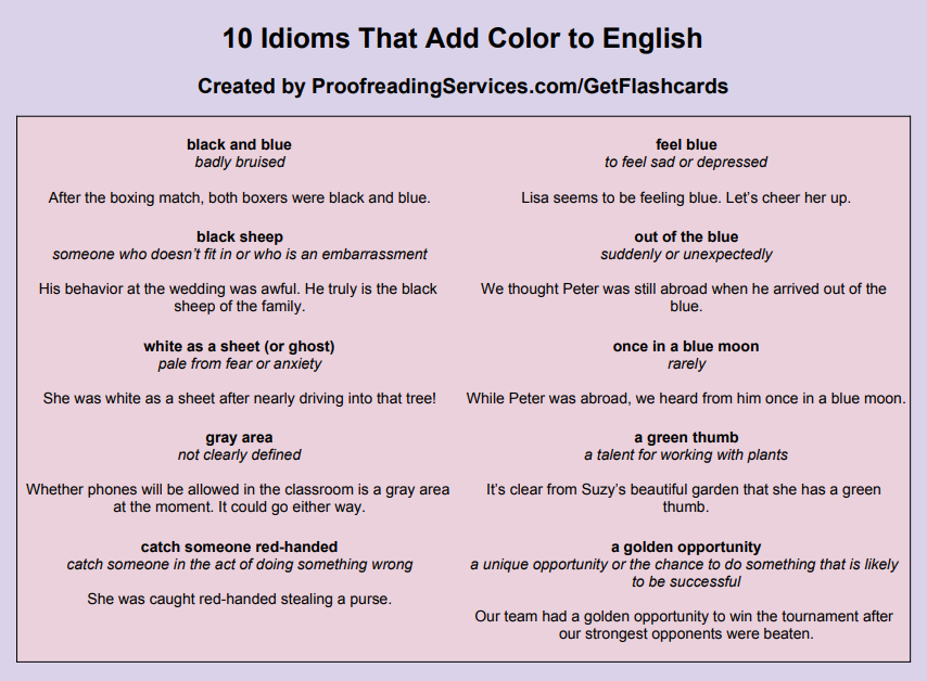 10 Idioms that Add Color to English infographic