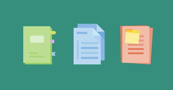 three different colored documents