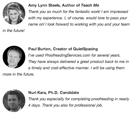 Proofreading Client Testimonials