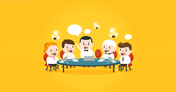 Seated people with lightbulbs and speech balloon over their heads