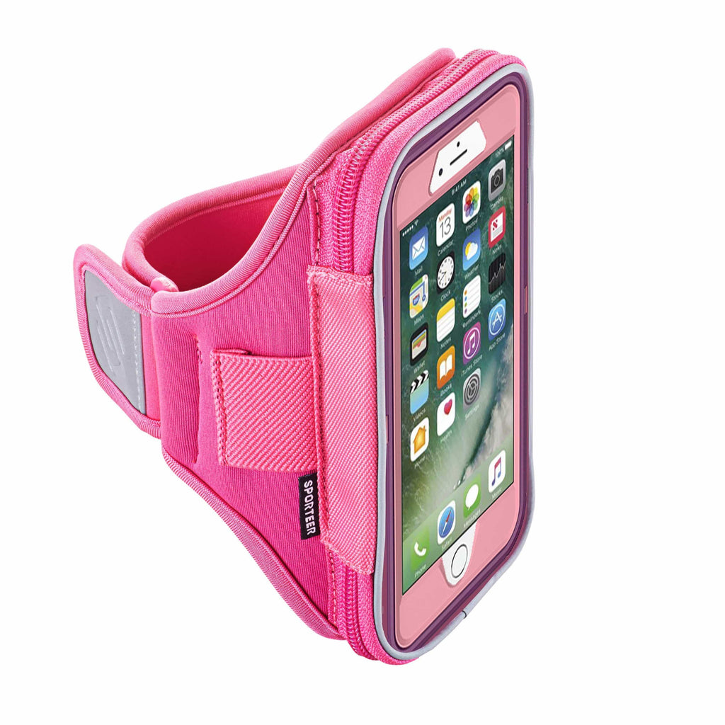 Pink iPhone 8 armband case by Sporteer
