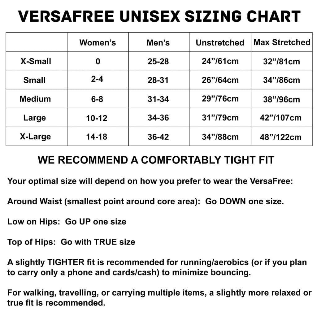 Sporteer VersaFree Running Belt Size Guide