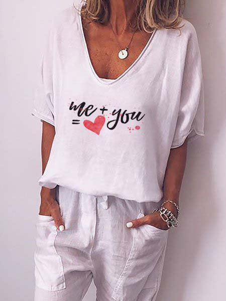 Cotton-Blend V Neck Letter Casual Shirts & Tops