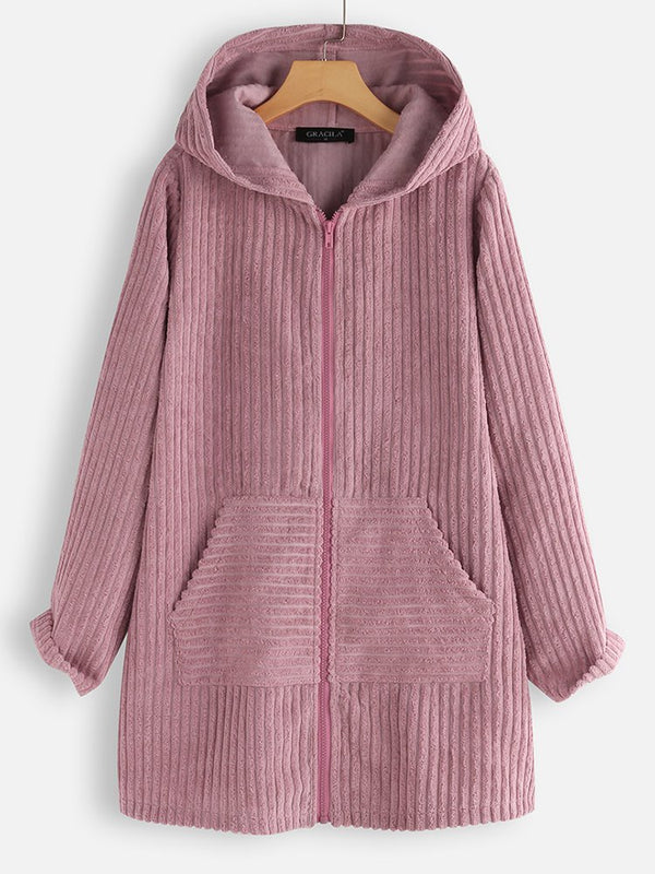 Casual Hoodie Long Sleeve Cotton-Blend Outerwear