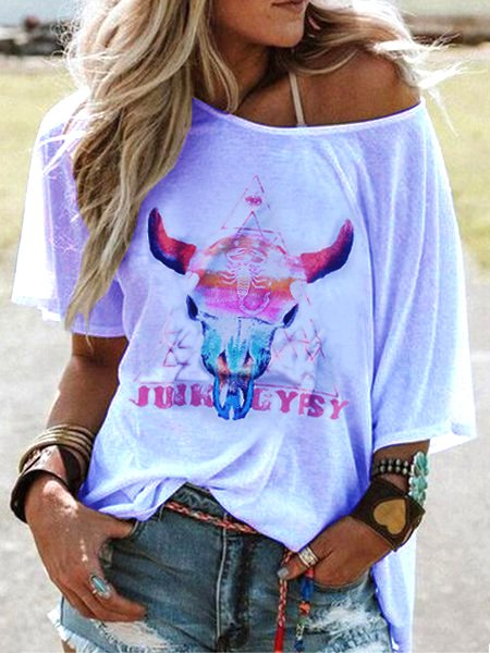 Crew Neck Short Sleeve Oxhead Print Casual Top
