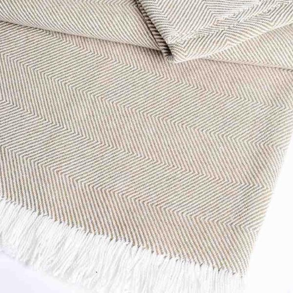 Sunbrella® Indoor/Outdoor Throw Blanket | Heather Beige / Natural Chevron