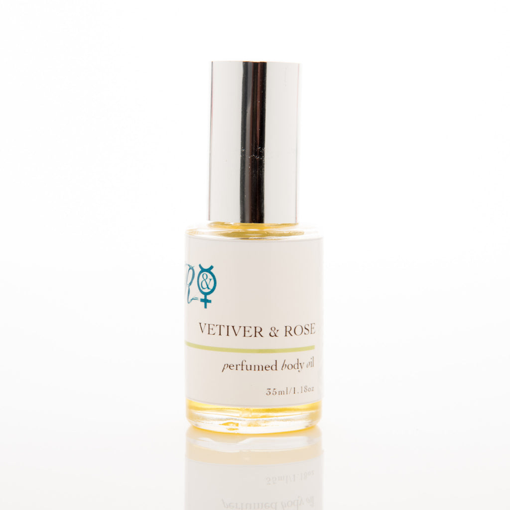 Vetiver and Rose Pure Organic Perfumed Body Oil