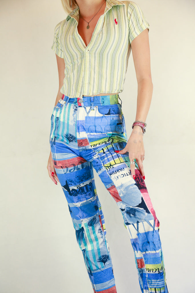 Authentic Kenzo Digital Printed Jeans Sz 26