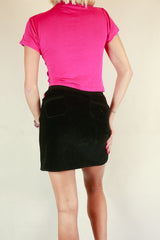 Authentic Elle Paris Velour Black Skirt