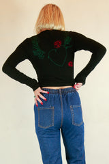 Authentic Gucci Black Long-sleeved Embroidery Top