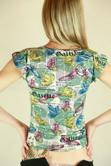 Authentic John Galliano Kids Newspaper Butterfly Top