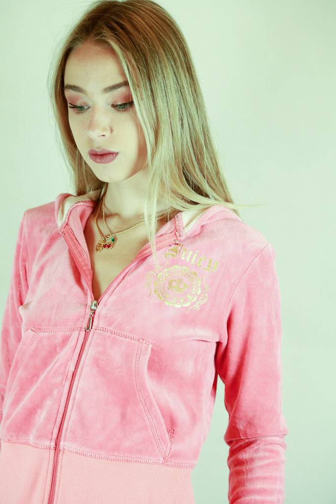 Authentic Coral Juicy Couture Velour Hoodie