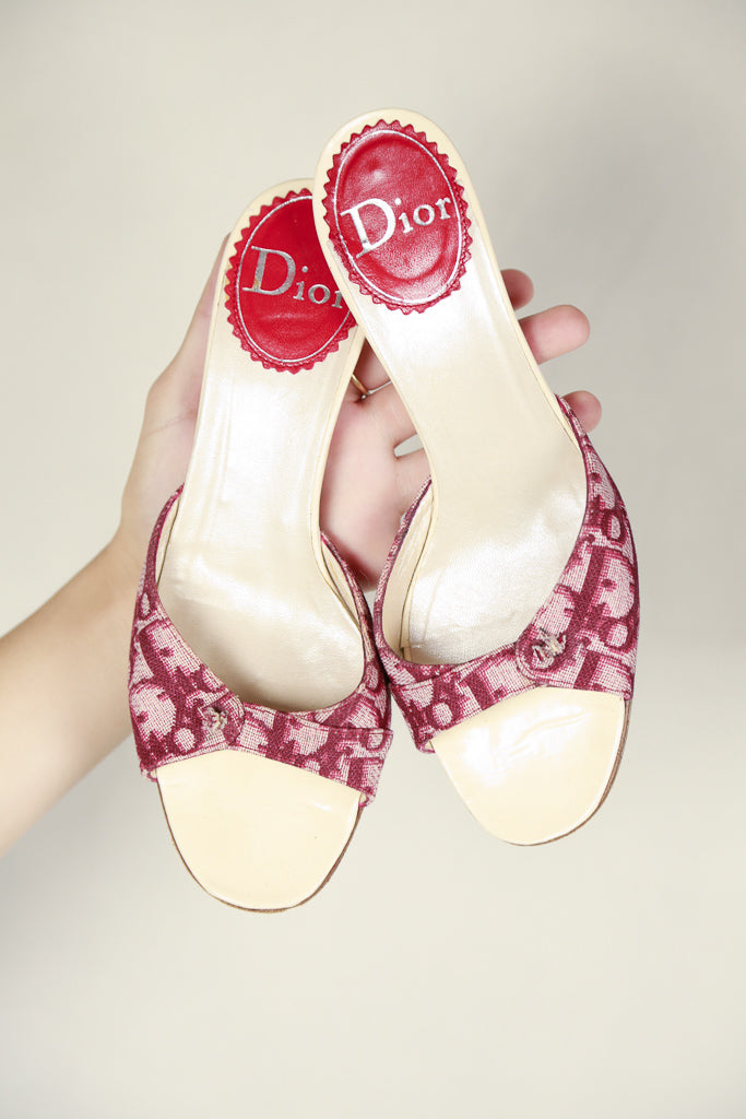 Authentic Dior Monogram Kitten Heels SZ 36