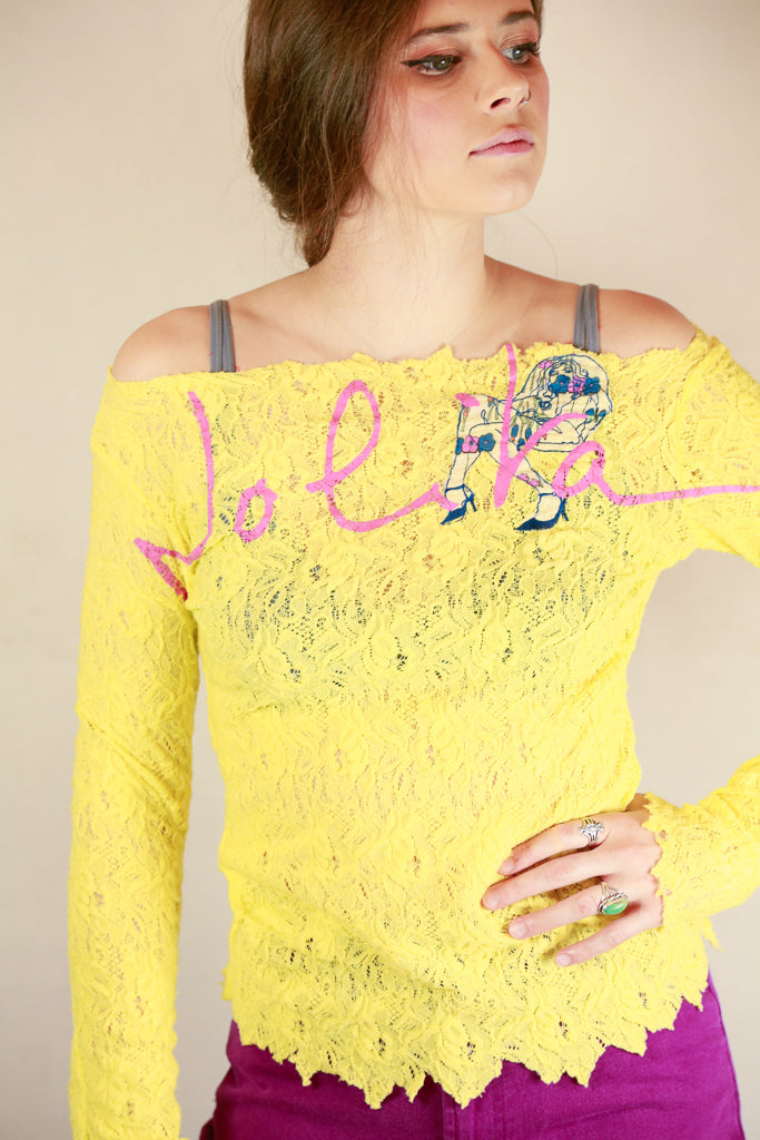 Authentic Nolita Yellow Lace Logo Top