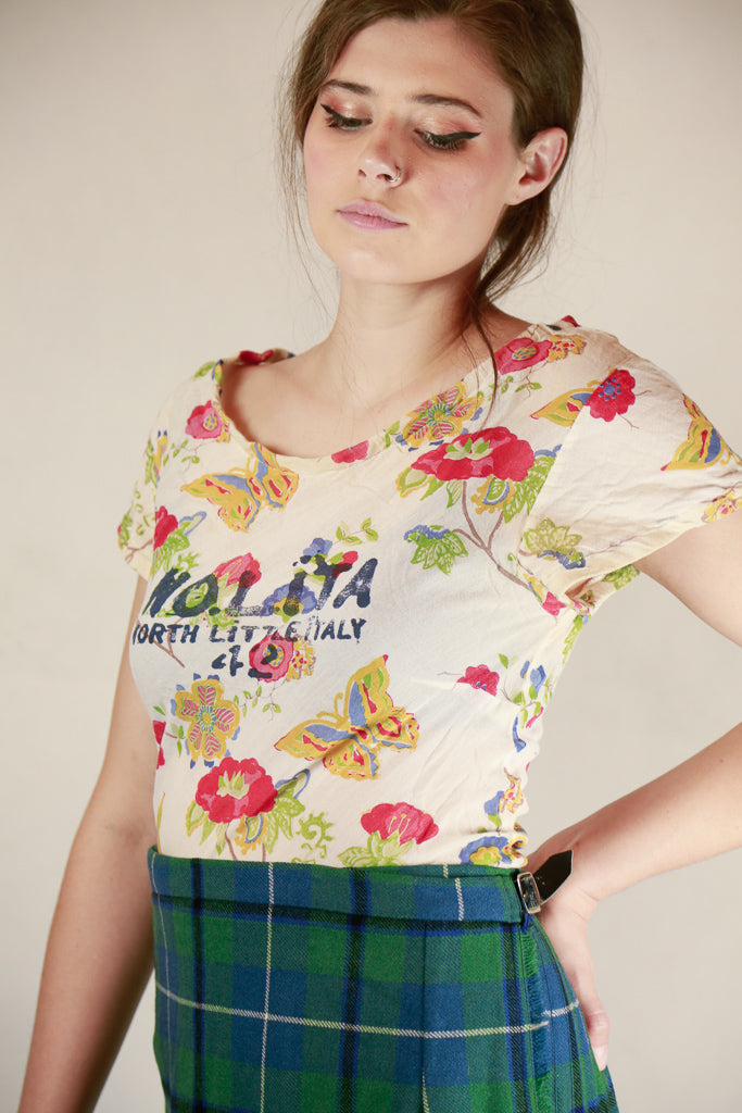 Authentic Nolita Cotton Linen Floral Logo Top