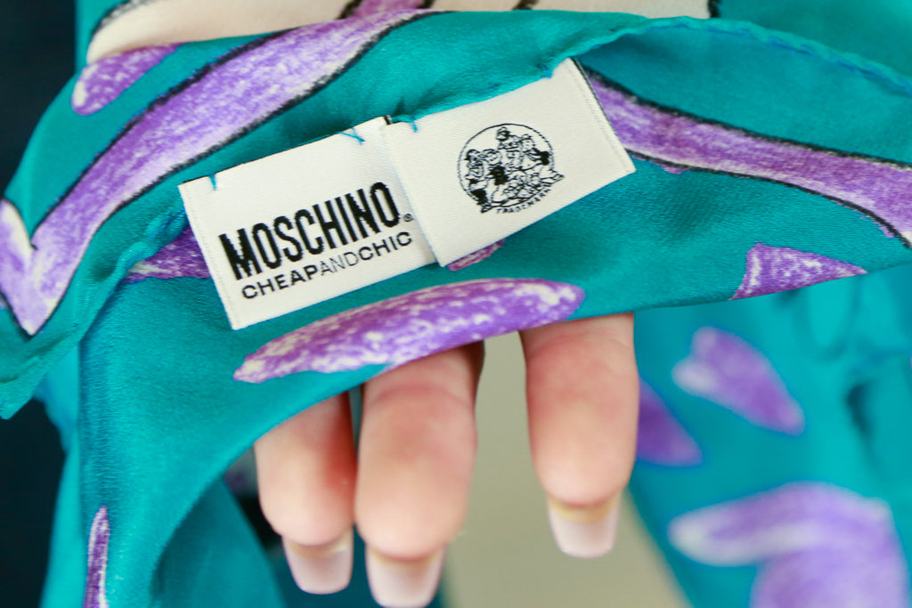 Authentic Moschino Olive Oil Silk Square Scarf
