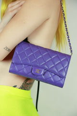 Incredible Authentic Chanel Lambskin Wallet with Detachable Chain