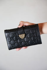 Authentic Gucci Micromissima Monogram Black Leather Wallet