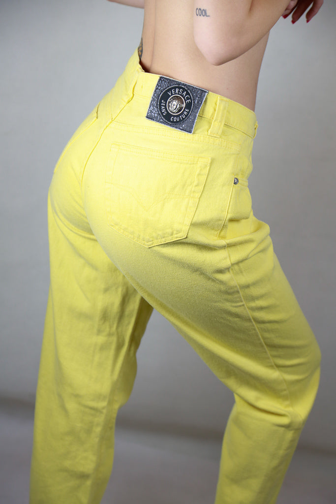Vintage Versace Yellow High Waisted Jeans