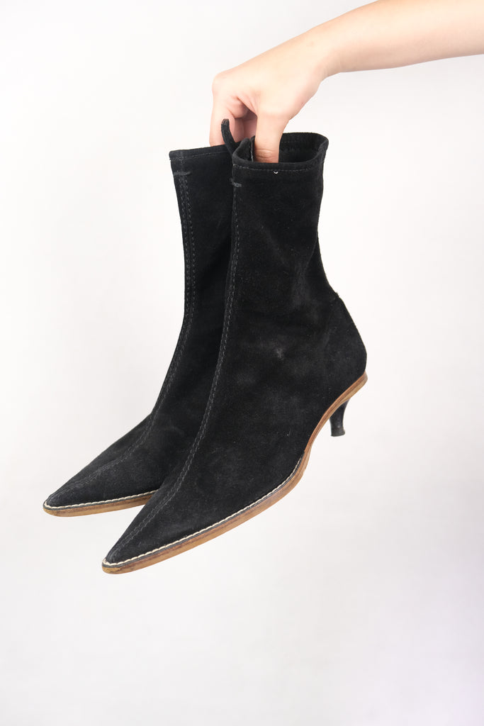 Authentic Bally 'Caribu' Suede Leather Pointed Boots