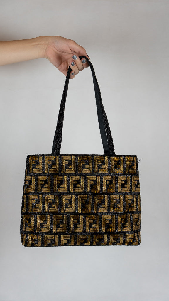 Incredible Vintage Fendi Zucca Beaded Bag