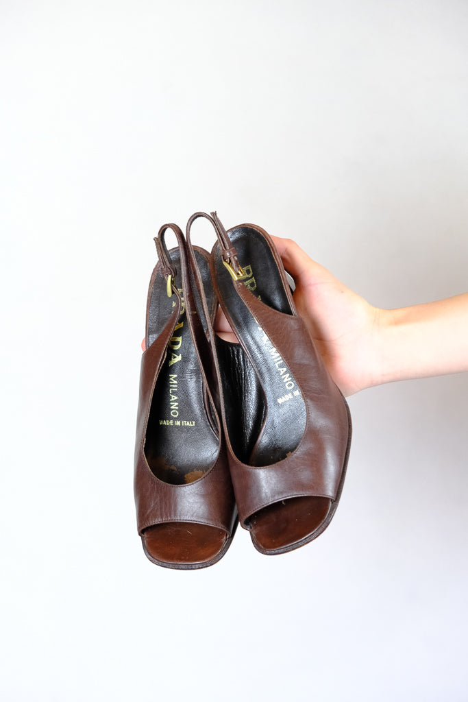 Authentic Vintage Prada Brown Leather Heels