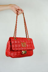 Authentic Love Moschino Red Quilted Leather Bag